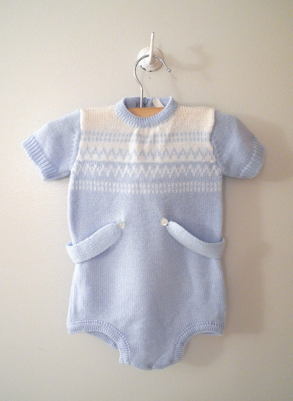 1960's Baby Blue and White Knit Romper