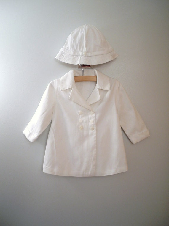 1950's Classic White Coat and Sun Hat Set