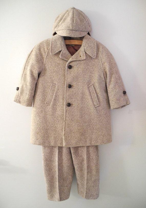 Vintage Baby Clothes, 1940's Tan Wool Tweed Baby Boy Coat Set, Baby Boy Coat, Wool Baby Coat, Baby Winter Coat,Tweed Baby Coat, Size 3T