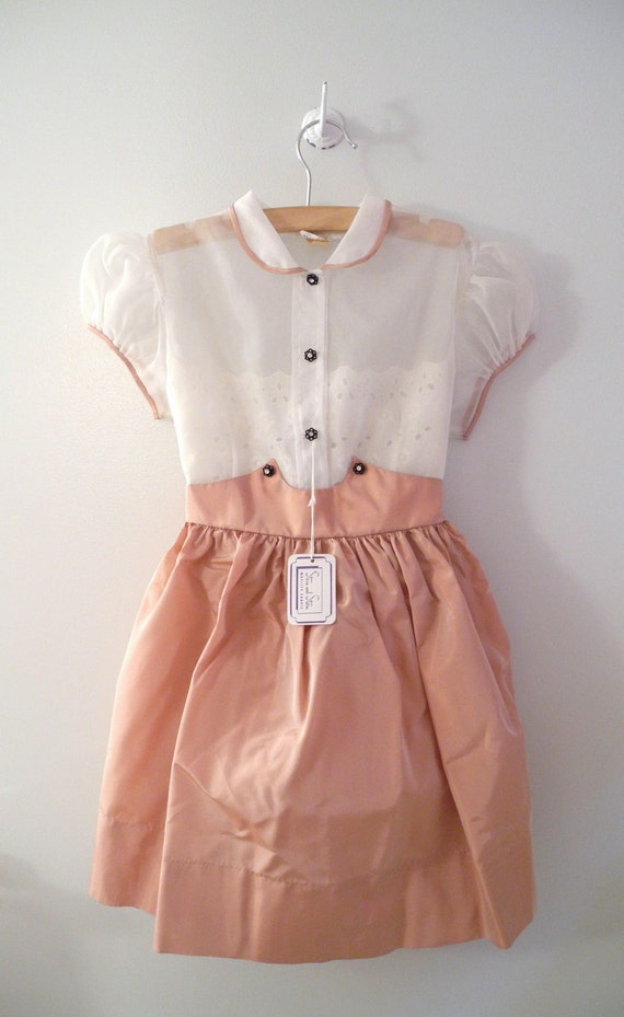 "1950's White and Peach Chiffon and Taffeta ""Mary Jane"" Dress"