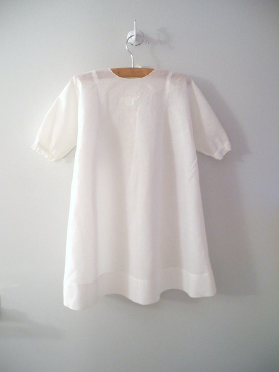 1930's Handmade White Scalloped and Embroidered Christening Gown