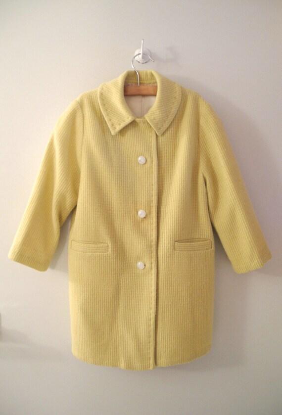 1930's Handmade Yellow Wool Tweed Swing Coat