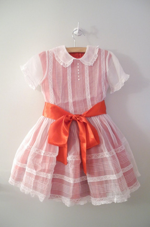 1950's Red and White Organdy Dress