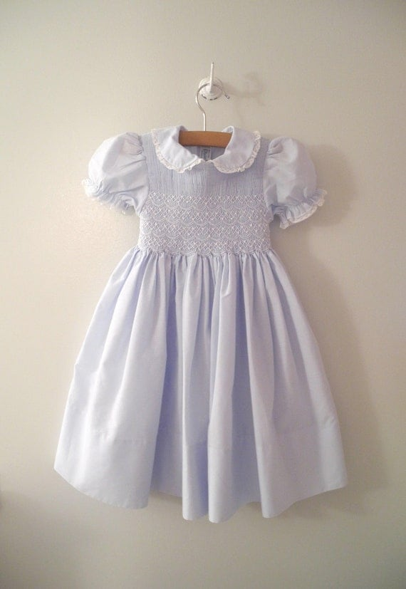 1970's Powder Blue Smocked and Embroidered Dress