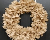 Large Natural Burlap Fabric Rag Wreath