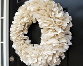 Large White Burlap Fabric Rag Wreath