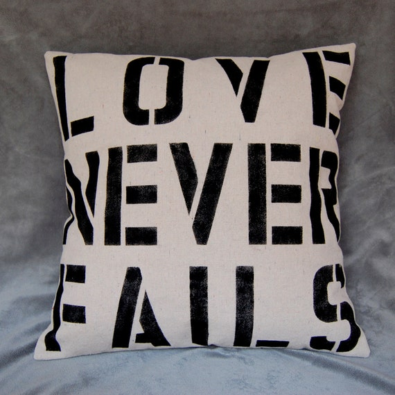 18 Inch Canvas LOVE NEVER FAILS Pillow Cover