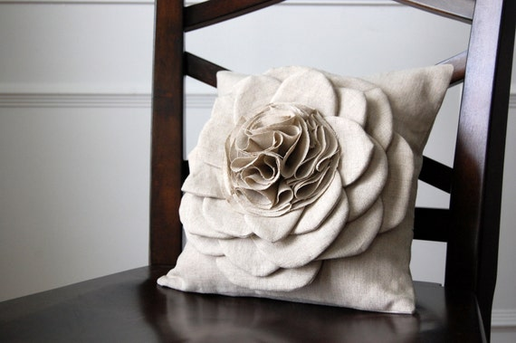 Shabby Chic Linen Pillows : Items similar to Shabby Chic Natural Linen Flower Pillow Cover (12 inch) on Etsy