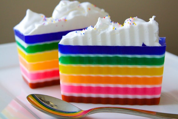 Items similar to Rainbow Soap - Frosted Rainbow Cake Soap ... - photo#36