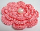 Free Brooch or Hair clip, Pink Crochet flowers, Crochet flower Applique, Applique, Kawaii crochet, Flower Motif, Glitter thread