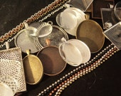 WHOLESALE 45 Piece Pendant making Kit- 15  Blank Pendants, 15 Glass Cabochons, 15 Matching Necklaces