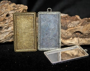 24 HALF OFF Rectangle Blank pendant trays 25mm x 48mm for photo charms or altered art rectangle