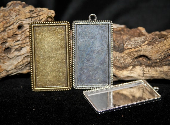 24 HALF OFF Rectangle Blank pendant trays 25 mm x 48 mm for photo Jewelry charms, Necklaces or altered art rectangle