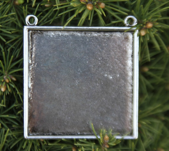 NEW PENDANT 2 Large Square Silver plated Pendant 49mm x 49m Lead and Nickel Free