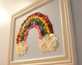 Baby Nursery Wall Art, Rainbow Button Art Wall Hanging, Button Art,  Upcycled Canvas Painting  Framed 8x10 Made to Order