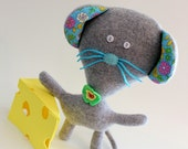Mouse Plush, Mouse Toy, Mouse Doll made from Upcycled Sweaters and Vintage Material