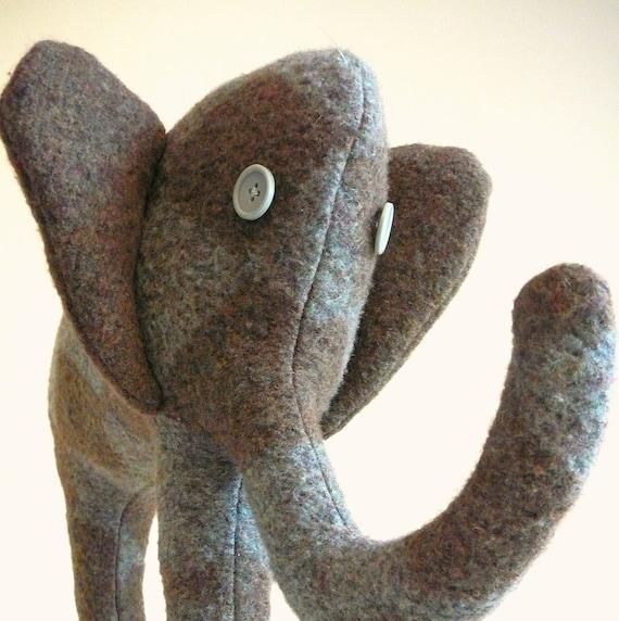Elephant Nursery Decor or Childrens Elephant Plush, Elephant Toy or Elephant Pillow made from upcycled sweater eco-friendly