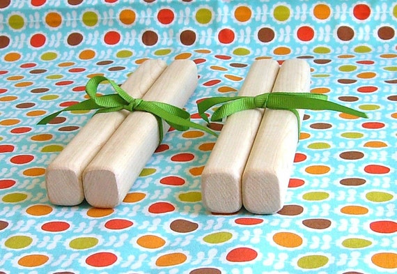 Natural Maple Parent and Child Rhythm Sticks, Two Sets, Wooden Instruments, Handmade Wooden Toys, Montessori, Waldorf, Percussion