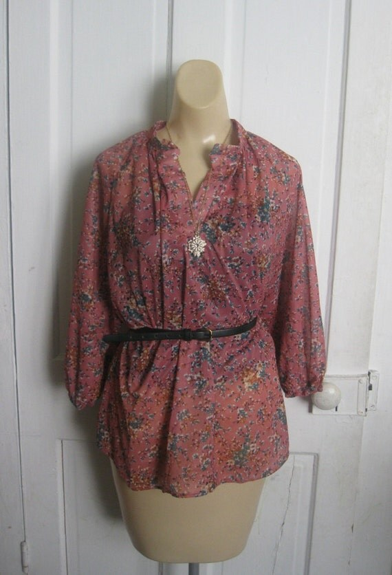 """Floral mauve vintage shirt """"In Touch Sportswear"""""""