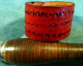 Distressed Leather Cuff - leather cuff bracelet men - leather cuff bracelet women - cuff leather bracelet - personalized - cherry red