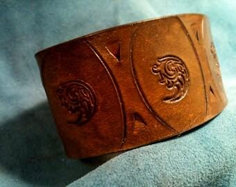 Leather Cuff - Chestnut Brown - Leather Bracelet - unique jewelry - Personalized Cuff - Groomsman Gift - Boyfriend Gift - Girlfriend Gift