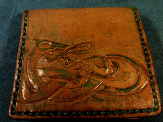 Mens Leather Wallet Celtic Viking Knotwork Handmade Gifts Pale Green-Made to Order