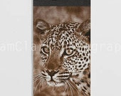 African Leopard Bookmark - Handmade Canvas Bookmark, nature photography, gift, Inspirational, sepia