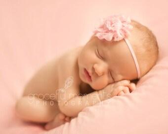Baby Headbands, PICK 5 - YOU CHOOSE, Shabby Chic Rosette Skinny Headband - Newborn Headbands - Flower Girl Headband - Photography Prop