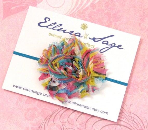 STORE SALE - Rainbow Baby Headband - Shabby Chic Chiffon Rosette Skinny Headband - Photography Prop - Infant, baby, toddler, girls, wedding