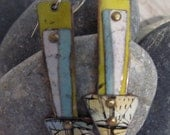 Arrow Shaped Turquoise, white and chartruese Steel cannister earrings, handriveted onto recycled copper.Think spring and nautical colors.