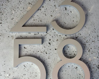 "Modern House Numbers Modern Font Recycled Aluminum Set of 5 numbers 8"" tall"