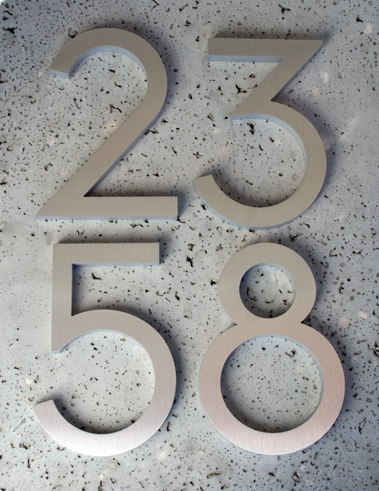 Modern House Numbers Modern Font Recycled Aluminum Set Of 4