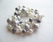 White Silver Grey Pearl Bracelet, Sea Shell Bracelet, Swedish Jewelry Design, Made In Sweden, Scandinavian Design