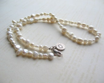 White Freshwater Pearl Necklace, Wedding Jewelry, Swedish Jewelry, Made in Sweden, Scandinavian Jewelry Design, Made in Sweden