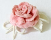 Felted Brooch - Pale Pink Rose - handcrafted