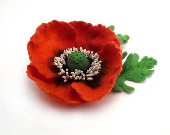 Felted Brooch Red Poppy