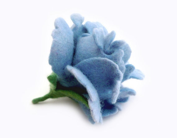 Felted Brooch - Pale Blue Rose - handcrafted - Ready to ship - Black Friday Cyber Monday