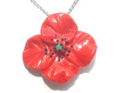Glass lampwork necklace pendant red poppy flower