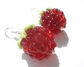 Raspberry earrings, Glass lampwork earrings, flower earrings ,floral earrings , silver earrings ,artisan lampwork earrings , beaded earrings