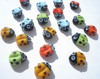 Set of two Lampwork glass beads ladybug