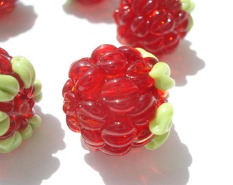 Set of six glass lampwork raspberry beads