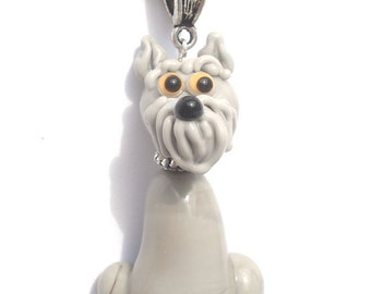 Schnauzer necklace glass charm pendant jewelry with silver chain bead lampwork ,  miniature , figurine , sculpture
