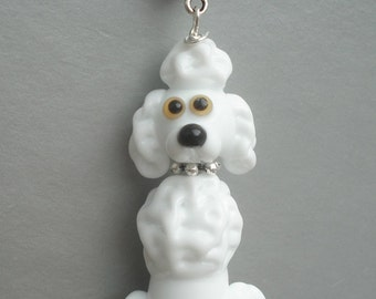 Poodle necklace glass charm pendant jewelry with silver chain bead lampwork , miniature , figurine , sculpture