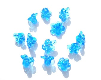Set of 6 glass lampwork flower beads