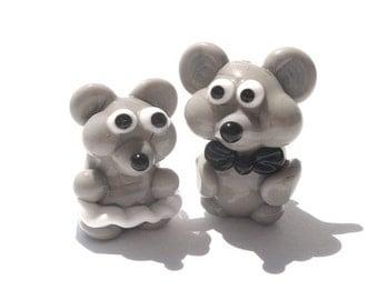Fairy garden miniature glass mouse sculpture figurine bead Glass lampwork mouse beads