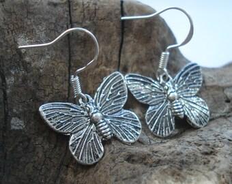 Antique silver butterfly earrings