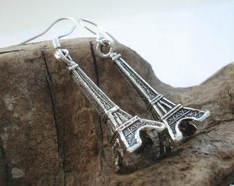 Antique silver towel earrings