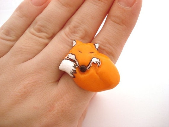 red fox polymer clay ring