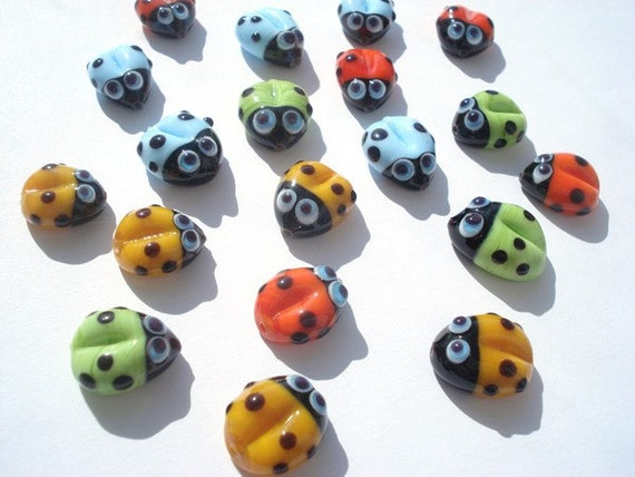 Set of two Lampwork glass beads ladybug