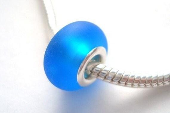 Aqua blue Sea Glass Effect Handmade Lampwork Bead Fits Troll Biagi